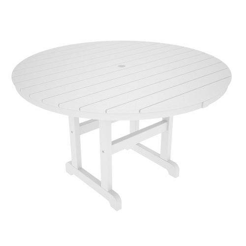 Polywood La Casa Café White Round 48 Inch Dining Table
