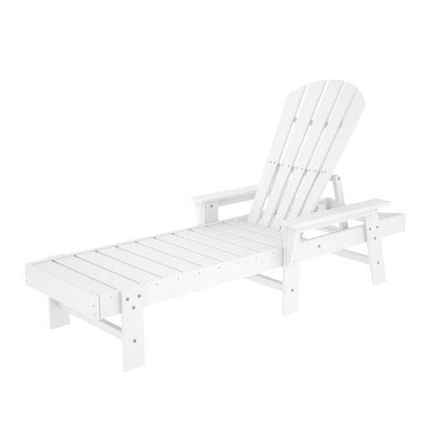 POLYWOOD® South Beach Adirondack White Chaise Lounge