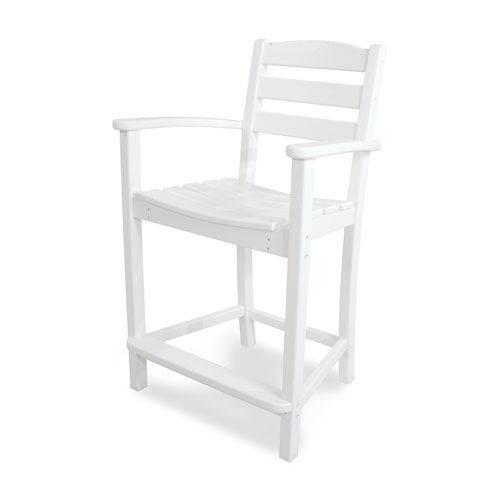 La Casa Café White Counter Height Arm Chair