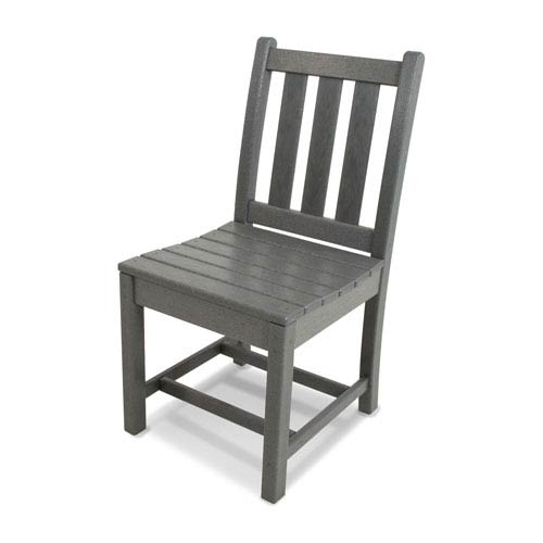 Traditional Garden Dining Side Chair in Slate Grey