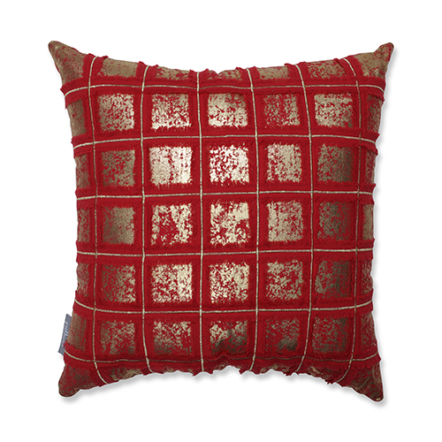 Red and Gold Grid 18-Inch Throw Pillow