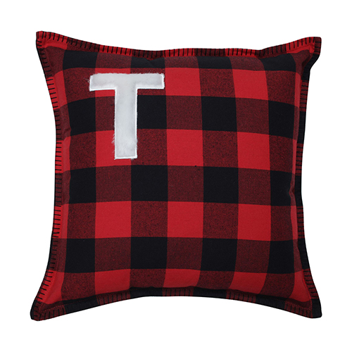 Black and Red Buffalo Plaid 17-Inch Throw Pillow- Letter R