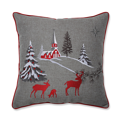 Gray Christmas Scene 17-Inch Throw Pillow