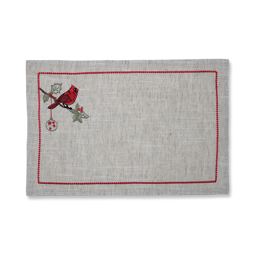 Red and Green Christmas Cardinal Placemat- Set of 2
