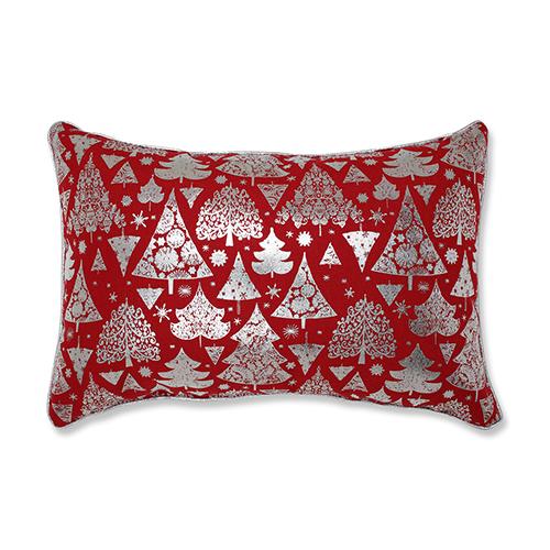 Red Metallic Christmas Trees 17-Inch Throw Pillow