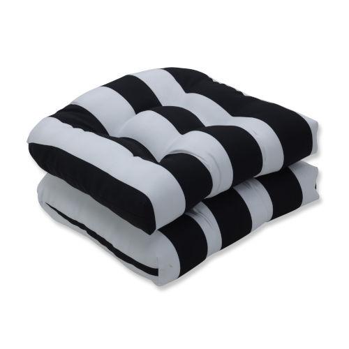 Cabana Black White Seat Cushion, Set of Two