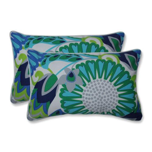 Sophia Green Blue Gray Throw Pillow, Set of Two