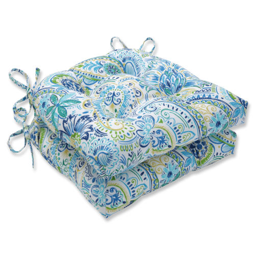 Gilford Blue Yellow Reversible Chair Pad, Set of Two