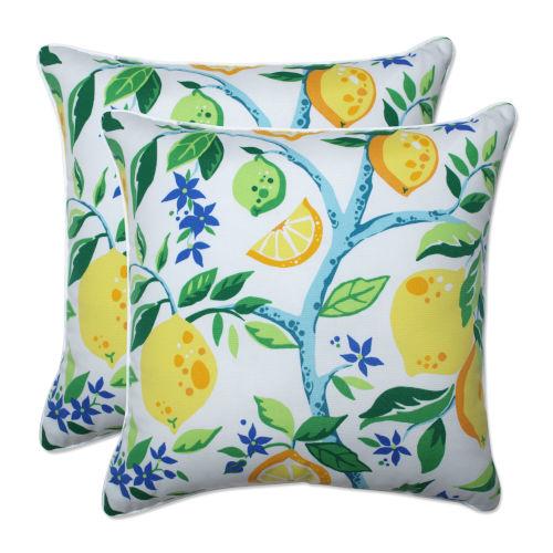 Lemon Yellow Blue Green 18-Inch Throw Pillow, Set of Two