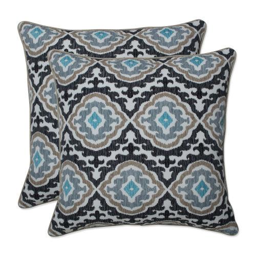 Agrami Black Tan Gray 18-Inch Throw Pillow, Set of Two