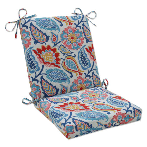 Moroccan Blue Red Yellow Chair Cushion