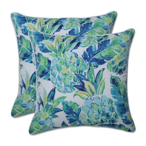 Vida Blue Green White 18-Inch Throw Pillow, Set of Two