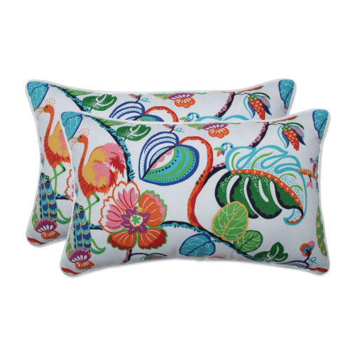Tropical Green Blue Multicolor Throw Pillow, Set of Two
