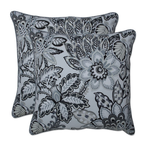 Copeland Black Gray 18-Inch Throw Pillow, Set of Two