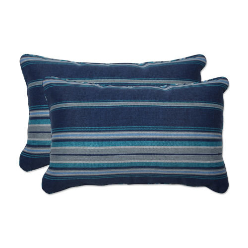 Terrace Blue Gray Off-White Throw Pillow, Set of Two