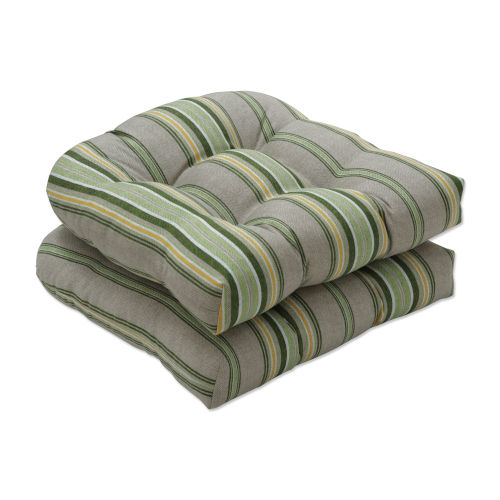Terrace Green Natural Yellow Seat Cushion, Set of Two
