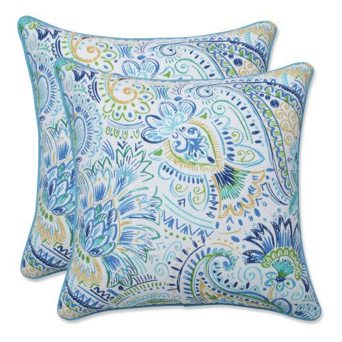 Gilford Blue Yellow White 16-Inch Throw Pillow, Set of Two