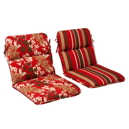 Pillow Perfect Outdoor Red/Brown Floral/Striped Chair Cushion Rounded Reversible
