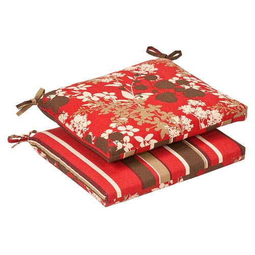 Pillow Perfect Outdoor Red/Brown Floral/Striped Seat Cushion Squared Reversible, Set of Two