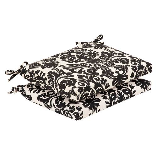 Outdoor Black/Beige Damask Seat Cushion Squared , Set of Two