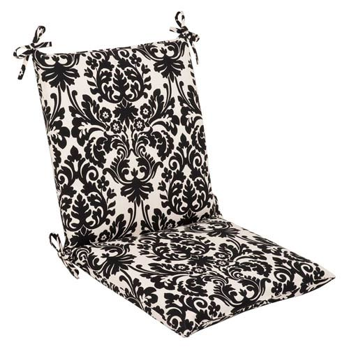 Pillow Perfect Outdoor Black/Beige Damask Chair Cushion Squared