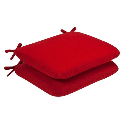 Outdoor Red Solid Seat Cushion Rounded , Set of Two