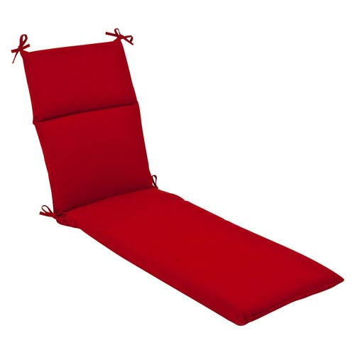Outdoor Red Solid Chaise Lounge Cushion