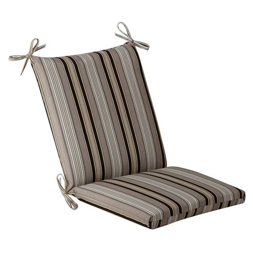 Pillow Perfect Outdoor Black/Beige Striped Chair Cushion Squared