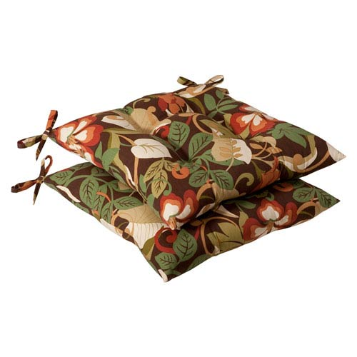 Pillow Perfect Outdoor Brown/Green Tropical Tufted Seat Cushion, Set of Two