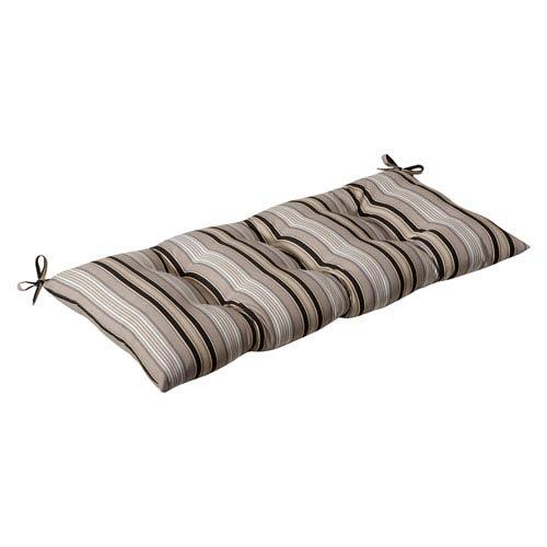 Outdoor Black/Beige Striped Tufted Loveseat Cushion