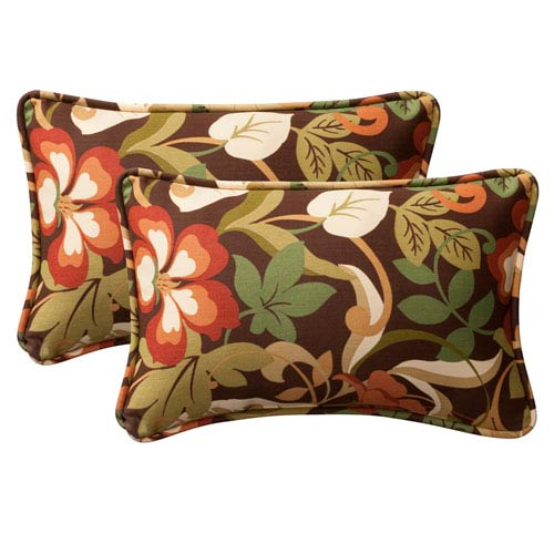 Decorative Brown/Green Tropical Toss Pillows Rectangle , Set Of Two