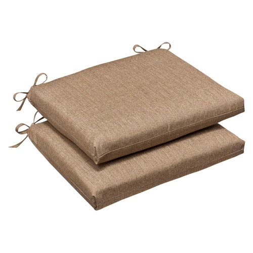 Pillow Perfect Outdoor Tan Textured Solid Sunbrella Fabric Seat Cushion Squared , Set of Two