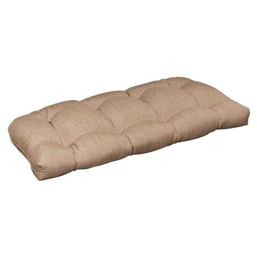 Outdoor Tan Textured Solid Sunbrella Fabric Wicker Loveseat Cushion