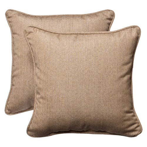 Outdoor Tan Textured Solid Sunbrella Fabric Toss Pillows Square , Set of Two