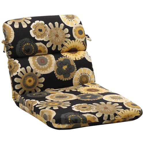 Outdoor Black/Yellow Floral Chair Cushion Rounded