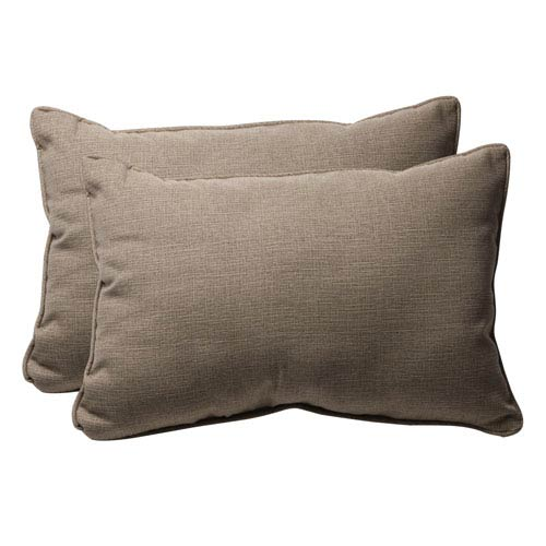 Decorative Taupe Textured Solid Toss Pillow Rectangle, Set of Two