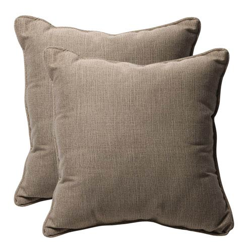 Decorative Taupe Textured Solid Toss Pillows Square, Set of Two