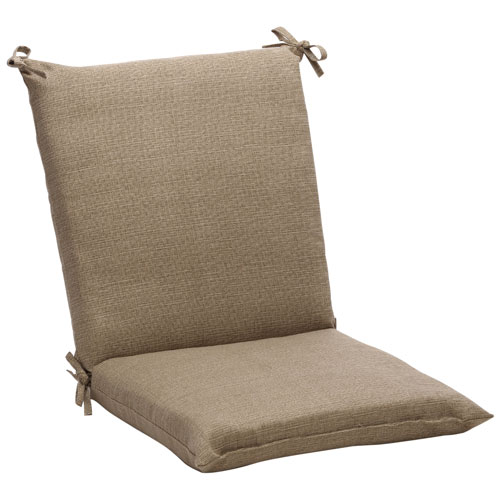 Outdoor Taupe Textured Solid Chair Cushion Squared
