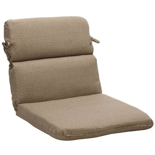 Outdoor Taupe Textured Solid Chair Cushion Rounded