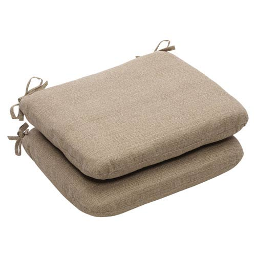 Pillow Perfect Outdoor Taupe Textured Solid Seat Cushion Rounded, Set of Two