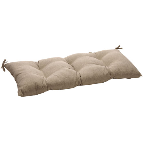 Outdoor Taupe Textured Solid Tufted Loveseat Cushion