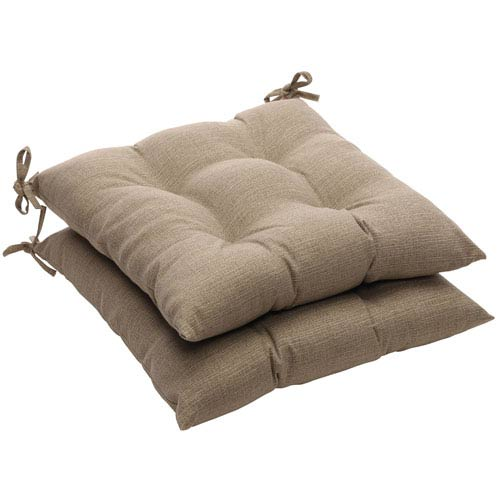 Outdoor Taupe Textured Solid Tufted Seat Cushion (Set of 2)