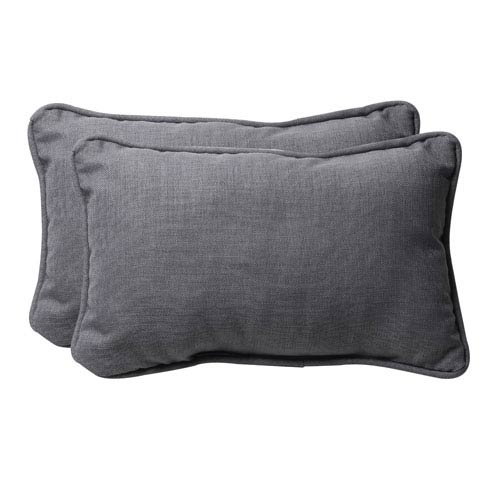 Decorative Gray Textured Solid Toss Pillows Rectangle, Set of Two