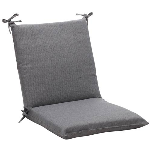 Outdoor Gray Textured Solid Chair Cushion Squared