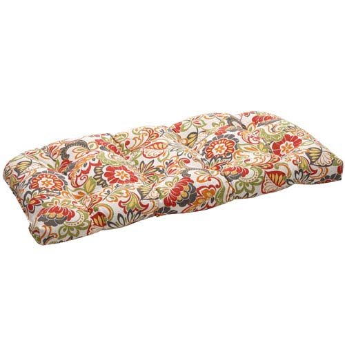 Outdoor Multicolored Floral Wicker Loveseat Cushion