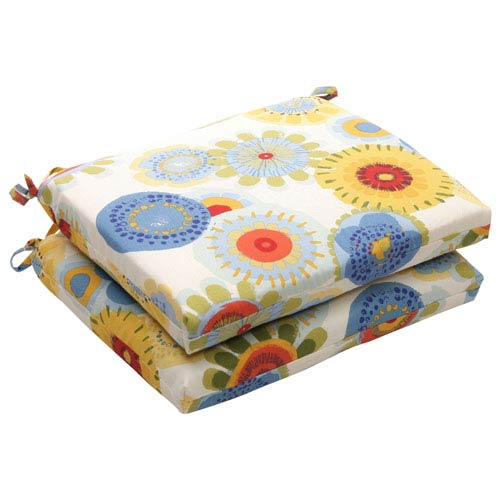 Pillow Perfect Outdoor Multicolored Floral Seat Cushion Squared, Set of Two