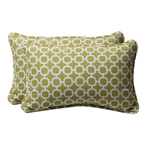 Pillow Perfect Decorative Green/White Geometric Toss Pillows Rectangle, Set of Two