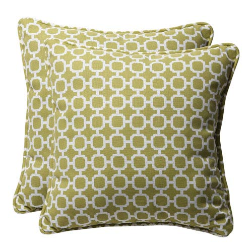 Pillow Perfect Decorative Green/White Geometric Toss Pillows Square, Set of Two