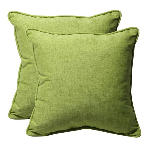 Decorative Green Textured Solid Toss Pillows Square, Set of Two