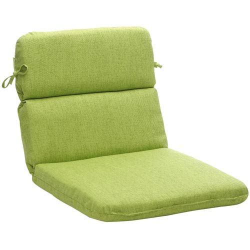 Outdoor Green Textured Solid Chair Cushion Rounded